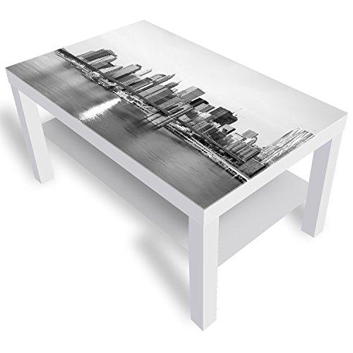 Ikea Brooklyn Bridge Table basse laquée avec motif plateau en verre Blanc 90 x 55 x 45 cm
