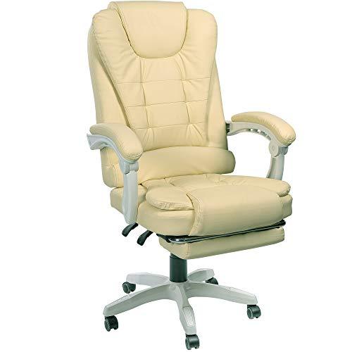 Trisens Schreibtischstuhl Design Bürostuhl Racing Chair Chefsessel Gamingstuhl Fußstütze, Farbe:Beige