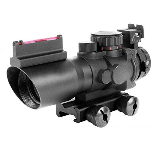 AIM Sports Prismatic Series, 4x32mm, Rapid Ranging Reticle, Fiber Optic Front Sight, Rifle Scope