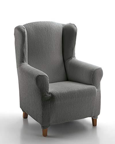 Textil-home Stretchhusse für Ohrensessel Marian, Elastisch Bezug für Fernsehsessel Liege - 1 Sitzer - 70 a 100Cm. Farbe Grey