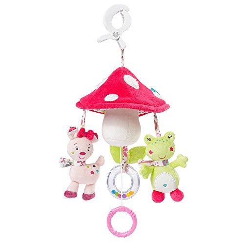 Fehn 076530 Mini-Musik-Mobile Pilz-Spieluhr-Mobile für Unterwegs zum Befestigen an Kinderwagen oder Babyschale-Melodie