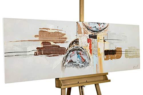 Kunstloft® Cuadro en acrílico 'Ingravidez del Tiempo' 150x50cm | Original Pintura XXL Pintado a Mano sobre Lienzo | Moderno Abstracto Gris marrón | Cuadro acrílico de Arte Moderno con Marco