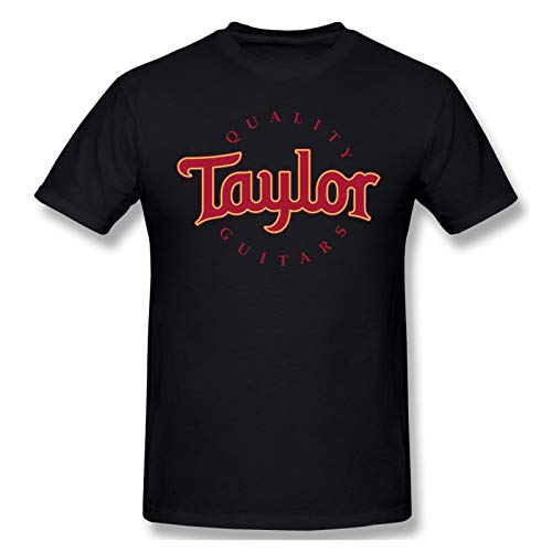 Taylor Quality Guitars Mens Basic Cotton Short Sleeve Graphic Novelty T-Shirt Fashion Tee Tops Black 5X-Large