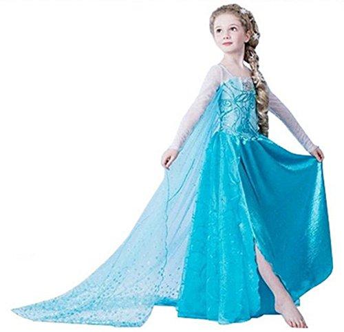 ELSA & ANNA® Filles Reine des Neiges Princesse Partie Costumée Déguisements Robe de Soirée FR-DRESS-SEP302 (4-5 Ans, FR-SEP302)