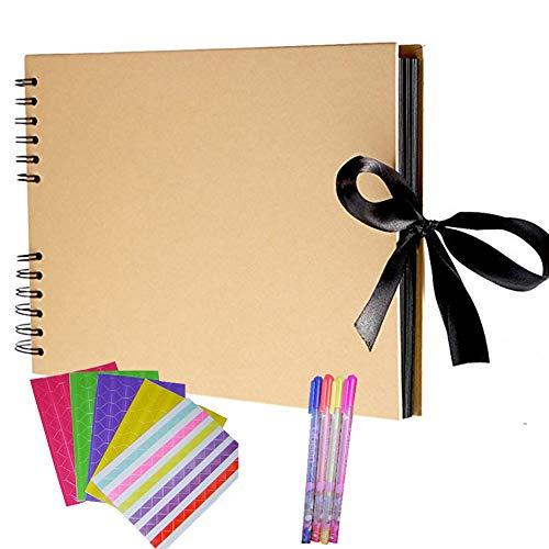 N/F DIY Fotoalbum, (20 Blätter, 40 Seiten), A4 Bastelpapier DIY Scrapbooking Fotoalben mit 4 Farbstiften und Fotoaufklebern, für Gedenkstätte, Geburtstagsgeschenk, Reisegeschenk