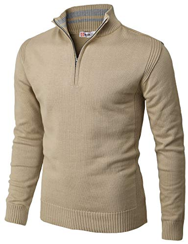 H2H Mens Casual Slim Fit Pullover Sweaters Mock Neck Zip up Various Patterned Beige US M/Asia L (CMOSWL048)