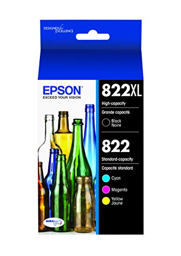 EPSON T822 DURABrite Ultra Ink High Capacity Black & Standard Color Cartridge Combo Pack (T822XL-BCS) for Select Epson Workforce Pro Printers