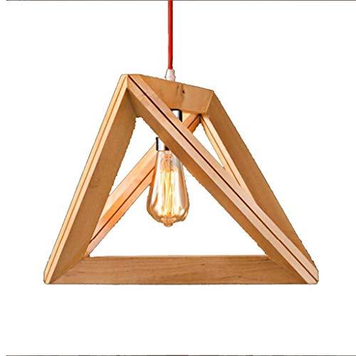 BAIJJ wasmand restaurant persoonlijkheid creatieve lamp gemaakt van massief hout geometrisch driehoek houten frame spin ++ (maat: M)