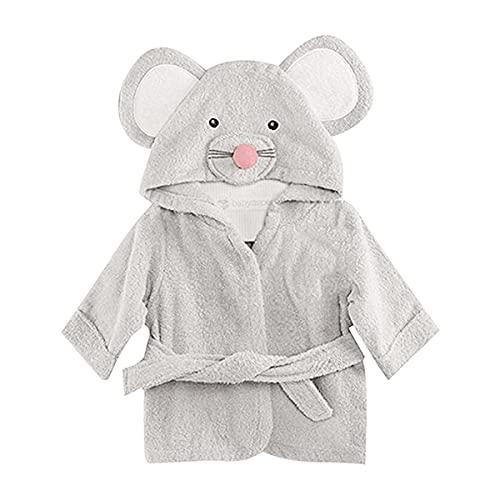MOMSIV - Albornoz de algodón con capucha para bebé, color gris