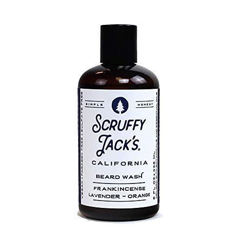 Scruffy Jack's Beard Wash with Organic Aloe and Jojoba Oil - Beard Shampoo to Softens, Smooths & Strengthens Beard Growth | Frankincense, Lavender, Orange - 8 fl. Oz