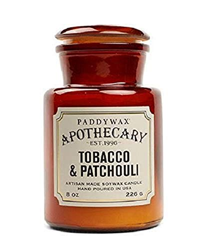 Paddywax Candles APG806 Apothecary Collection Soy Wax Blend Candle in Glass Jar, Medium, 8 Ounce, Tobacco & Patchouli