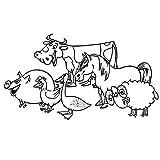 guijiumai Eine Gruppe von Schwein Henne Ente Kuh Pferd Schaf Kinder Wandaufkleber Tiere Schlafzimmer Dekoration Aushöhlen Vinyl Wandtattoo rot 34x59 cm