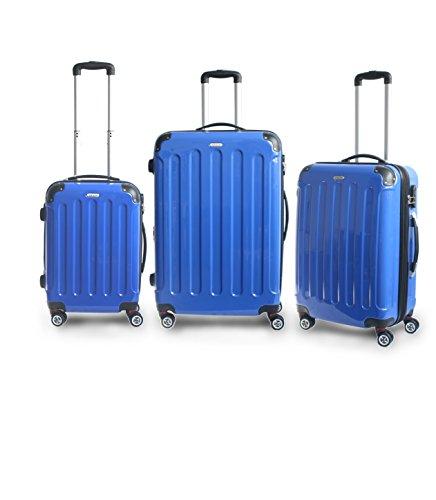 Hochwertiges 3 Teiliges Reise Kofferset Trolley ABS Hartschale in 12 Farben (Dunkelblau)