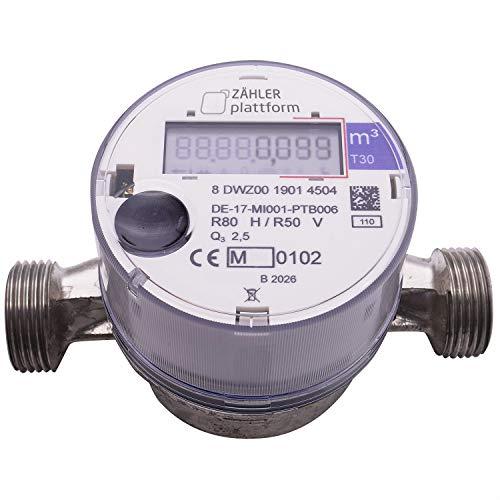 ZÄHLER plattform OMS Funk Wasserzähler Kalt Qn 1,5, Baulänge 110 mm, Durchfluss 1/2 Zoll, Anschluss 3/4 Zoll Eichung 2020 gültig bis 2026 Aufputzwasserzähler