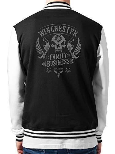 clothinx Winchester Family Business Skull Patch Design | Join The Hunt als Dämonenjäger im klassischen Biker Style College-Jacke Unisex Schwarz/Weiß Gr. L