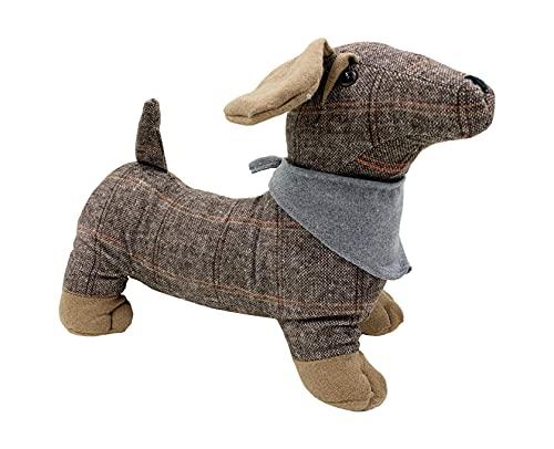 Tope para puerta de perro salchicha, salchicha con bufanda extraíble, color marrón