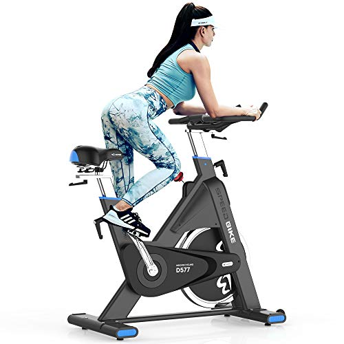 pooboo Indoor Cycling Bike 44lbs Flywheel Exercise Bike Belt Drive Stationary Bicycle for Professional Cardio Workout