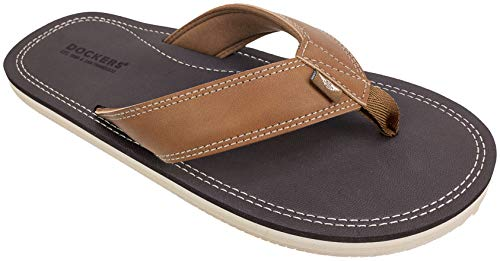 Dockers Men's Flip Flop Sandal ; Classic Comfort Footbed with Two-Tone Upper, Size 8 to 13 (Taupe Pebble, Numeric_11)