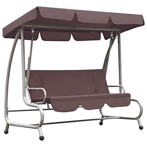 Festnight Schommelstoel voor buiten metSwing Adirondack Chair Outdoor tuinmeubelen luifel koffiekleurig