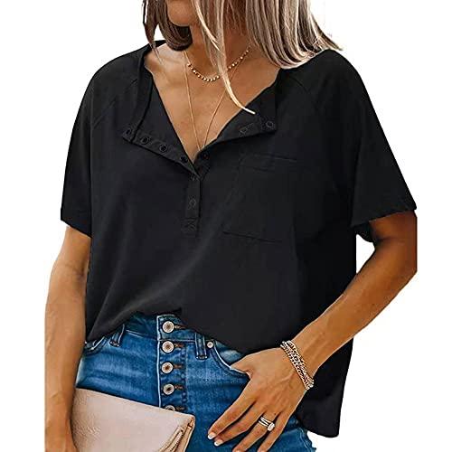 Luanda* Novedad De Verano De Manga Corta Para Mujer, Jersey De Cuello Redondo Coreano 2021, Camiseta Blanca Pura, Camisa Holgada Y Fina Con Fondo De AlgodóN M+ / Black/S