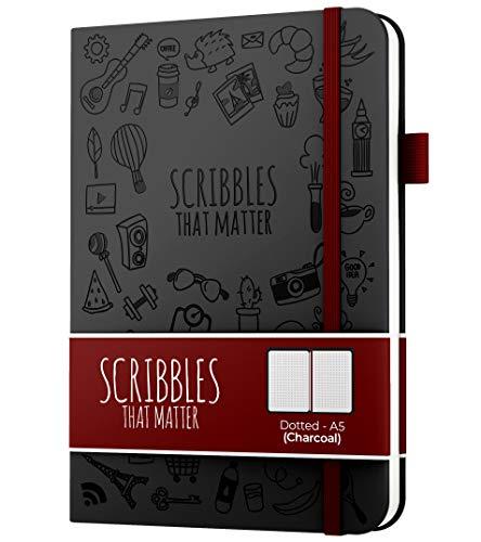 Diario de puntos A5 de Scribbles That Matter - Cuaderno Bullet Journal Dot Grid - Papel apto para plumas estilográficas gruesas sin sangrado - de tapa dura - Versión icónica - Carbón