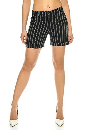 Crazy Age Chino Shorts Stretch Korte broek met riem strepen Shorts Zomerbroek