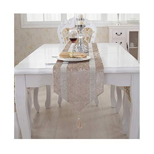 Daesar Coureur de Table 33x160CM, Chemin Table Lavable Rayures de Zircone Kaki Clair Chemin de Table en Velours