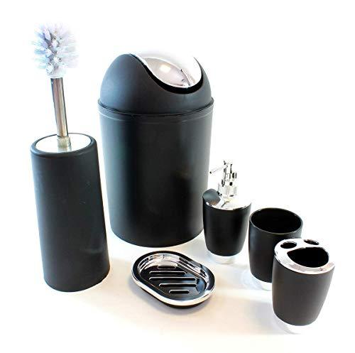 Onbekend HUKITECH@ luxe badkamerset PREMIUM (6-delig) zeepdispenser/zeepbak/tandenborstelbeker/tandenborstelbeker/badkameremmer/wc-borstel - hoogwaardige elegante set in kleur: zilver/zwart