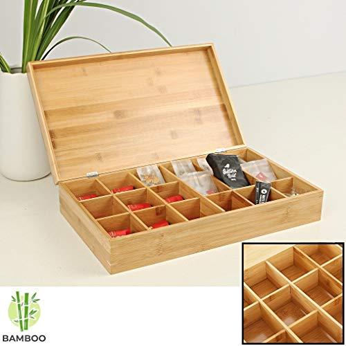 Decopatent Große Teebox aus Bambus Holz mit 18 Fächer - Tee Aufbewahrung Box für Teebeutel