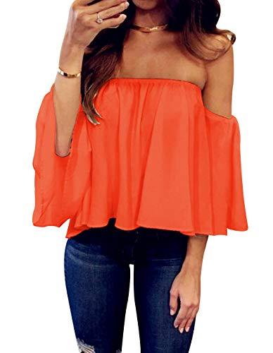 Women's Summer Off Shoulder Blouses Short Sleeves Sexy Tops Chiffon Ruffles Casual T Shirt (M,Orange)
