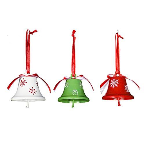 Amosfun - Juego de 3 campanas decorativas para árbol de Navidad