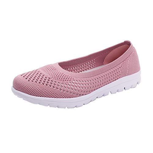 Mocasines planos para mujer, de malla, transpirables, ligeros, antideslizantes, suaves, para correr, Pink, 41 EU