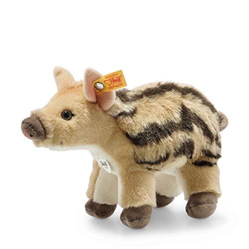 """Steiff 69154 Original Plüschtier Wildschwein Wutzi Frischling, Kuscheltier ca. 20 cm, Markenplüsch Knopf im Ohr"""", Schmusefreund für Babys von Geburt an, Hellbraun gestreift"""