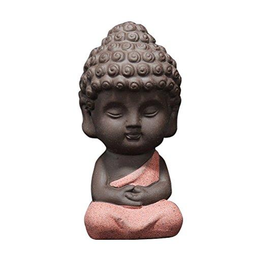 VOSAREA Estatua de Buda Pequeña Escultura Tallada a Mano de Figura Buda Docoración de Coche Mesa Artesanía Cerámica