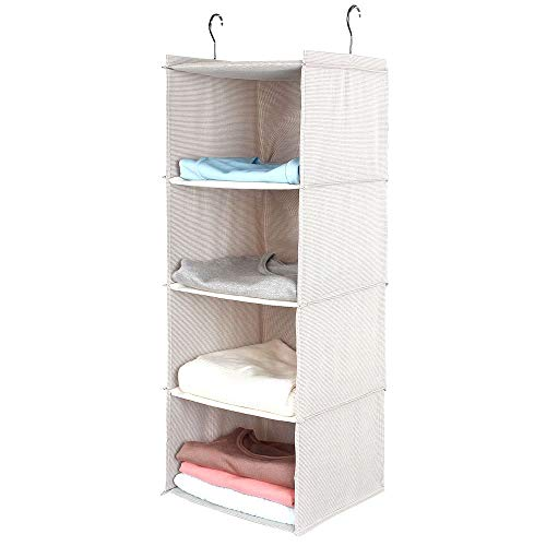 BrilliantJo Hanging Closet Organizer for Clothes Sweaters Advanced cloth 4 shelves Hanging Wardrobe Storage Shelves, Beige Check Washable(31.5 * 12 * 12 inch)