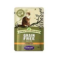 James Wellbeloved Senior, Grain Free, Wet Cat Food Pouches - Turkey 48 x 85g