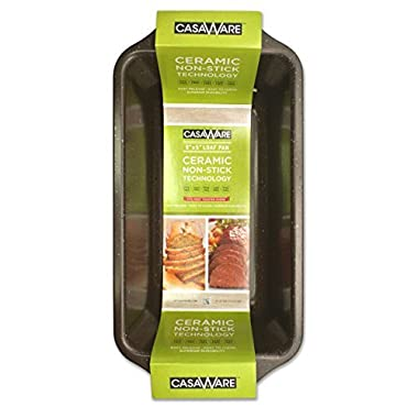 casaWare Loaf Pan 9 x 5-Inch Ceramic Coated Non-Stick (Brown Granite)