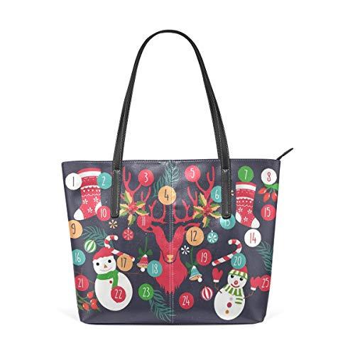 Digitaler Adventskalender PU-Ledertasche für Frauen, Hochleistungs-PU-Lederhandtasche Umhängetasche für Reisen, Schule, Arbeit, Einkaufen