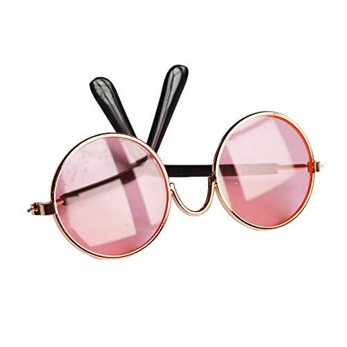 Moligh doll Sch?Ne Brille Katzen Haustier Produkte Brillen Sonnen Brille für Kleine Hunde Katzen Haustier Fotos Requisiten Zubeh?R (Rosa)