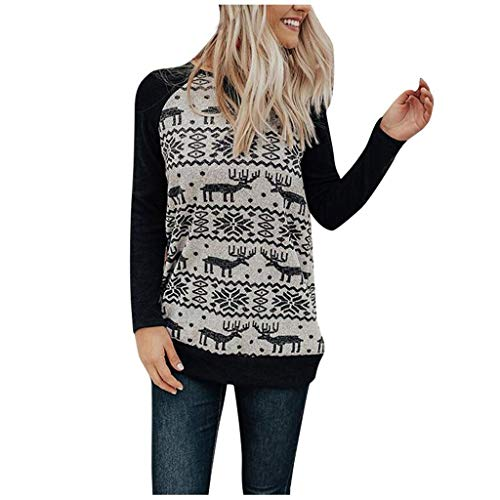 Weihnachten Pullover,ZuzongYr Weihnachten Hemd Frauen Jumper Splice Festival Sweatshirt Elch Print Oberseiten O-Ausschnitt Tops Basic Bluse Laufshirt (L,Black)