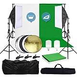 OUBO Set de fondo para estudio fotográfico para principiantes, tela de algodón (blanco y verde), luz de estudio con lámpara LED de 28 W, sistema de fondo, incluye reflector plegable