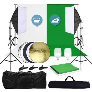 OUBO Profi Fotostudio Hintergrund Set Hintergrundstoff(weiß & grün) Led Softbox Studioleuchte 2x2m Studiosets Hintergrundsystem Fotoleinwand inkl. 5in1 Faltreflektor 60cm...