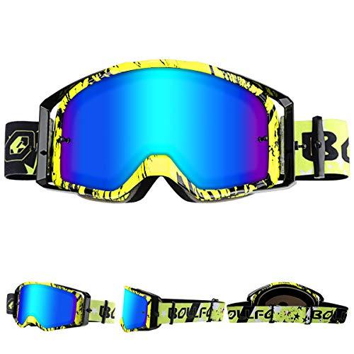 WholeFire Gafas de Motocicleta, ATV Dirt Bike Off Road Racing MX Riding Goggle, UV400 para Ciclismo, Motocross para Deportes al Aire Libre, Amarillo