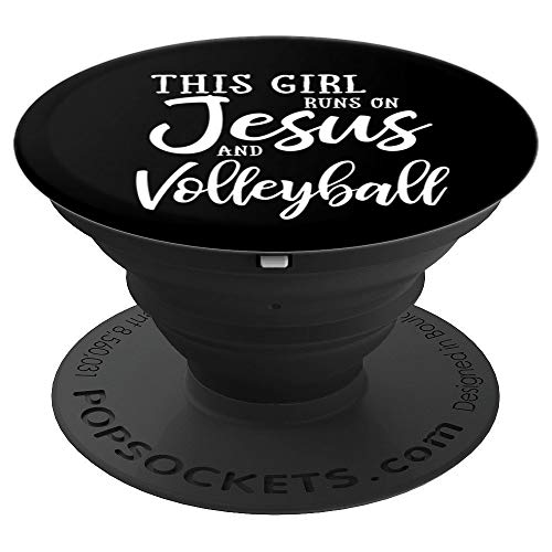 This Girl Runs On Jesus And Volleyball Woman Gift PopSockets Grip and Stand for Phones and Tablets