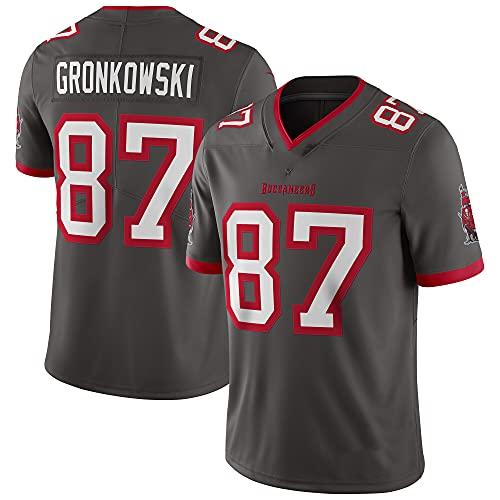 Herren Rugby Jersey T-Shirt Tampa Bay Buccaneers # 87 Rob Gronkowski Kurzarm Bequem Atmungsaktiv Sweatshirt Sport Kurzarm V-Ausschnitt Stickerei Fans Version T-Shirt (M,Grau)