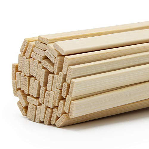 15.7 Inch Natural Bamboo Sticks 50Pcs, Luxiv 3mm Crafting Bamboo Strips for DIY Wooden Bamboo Stick 15.7 X 3/8in Crafts Extra Long Bamboo Strips (50)