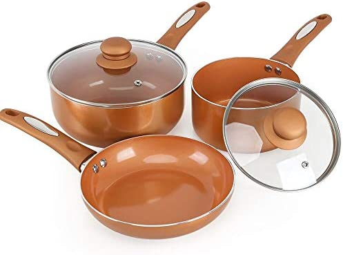 FGY 5 Pieces Copper Pots Pans Set Nonstick Cookware Set with Induction Bottom 8 inch Frying product image