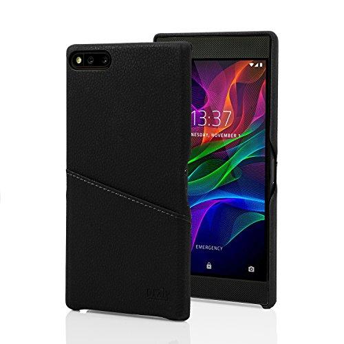 Orzly Funda Razer Phone, Funda Lux Grip Card Case para el Smartphone Razer (Modelo 2017) - Funda Protectora de Cuero sintético Bolsillo Integrado para Tarjeta de crédito - Negro