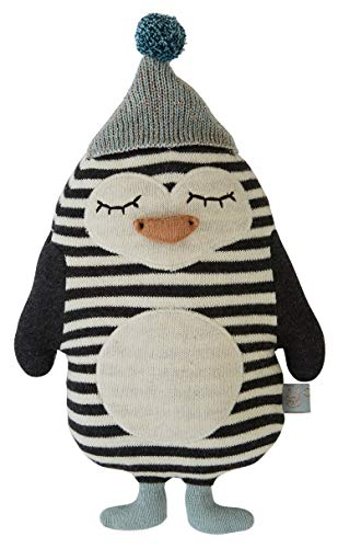 OyOy Mini Darling Cushion Baby Bob Penguin - Stofftier Pinguin - Süßes Baby Kinder Kissen Kuschelkissen und Schmusekissen - Baumwolle 26x18 cm