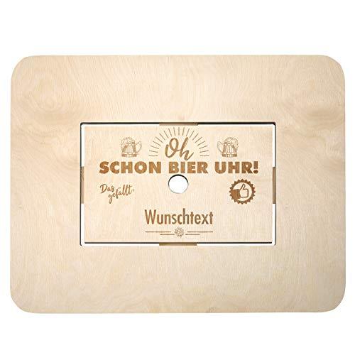 Herz & Heim® Bierkasten Stehtisch Bierkastenaufsatz mit Namensgravur - Made in Germany - aus Holz - Grandioses Männergeschenk Oh Schon Bier Uhr!
